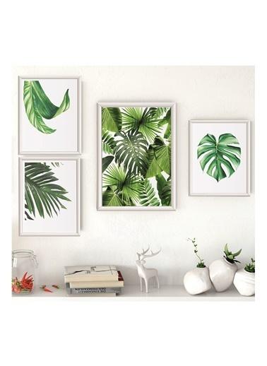 Lyn Home & Decor Yeşil Yapraklar Çerçeveli Poster 4 Lü Tablo 1 Adet 23,5X33,5 3 Adet 17,5X23,5 Beyaz